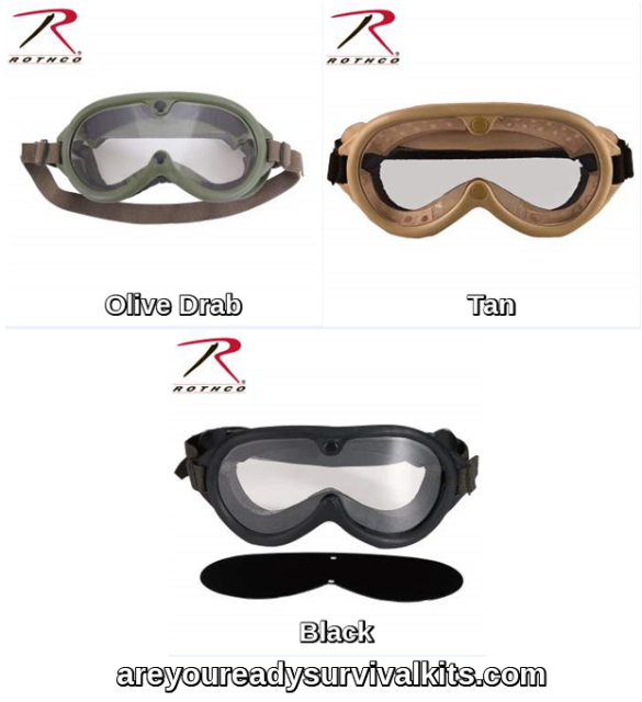 Sun Rothco 10350 Genuine G.I Wind /& Dust Goggles With Grey /& Clear Lens