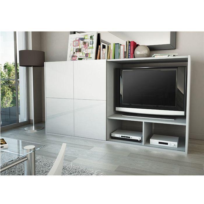 meilleure sélection c8cbd b0814 MEUBLE TV - HI-FI SAMOS Meuble TV mural 203 cm blanc avec ...