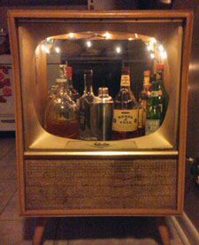 Vintage Console Televisions Converted To Liquor Cabinet