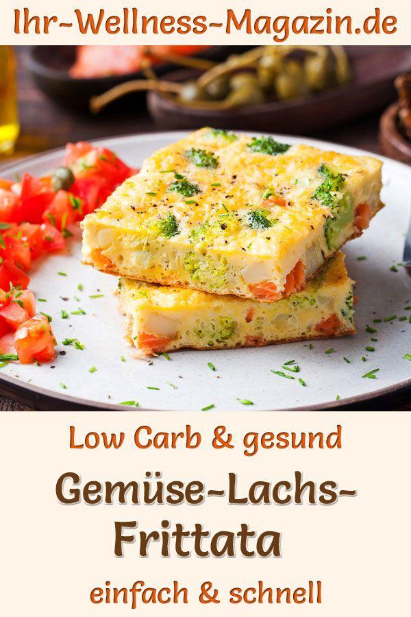 Gemüse-Lachs-Frittata zum Abnehmen - gesundes Low-Carb-Rezept