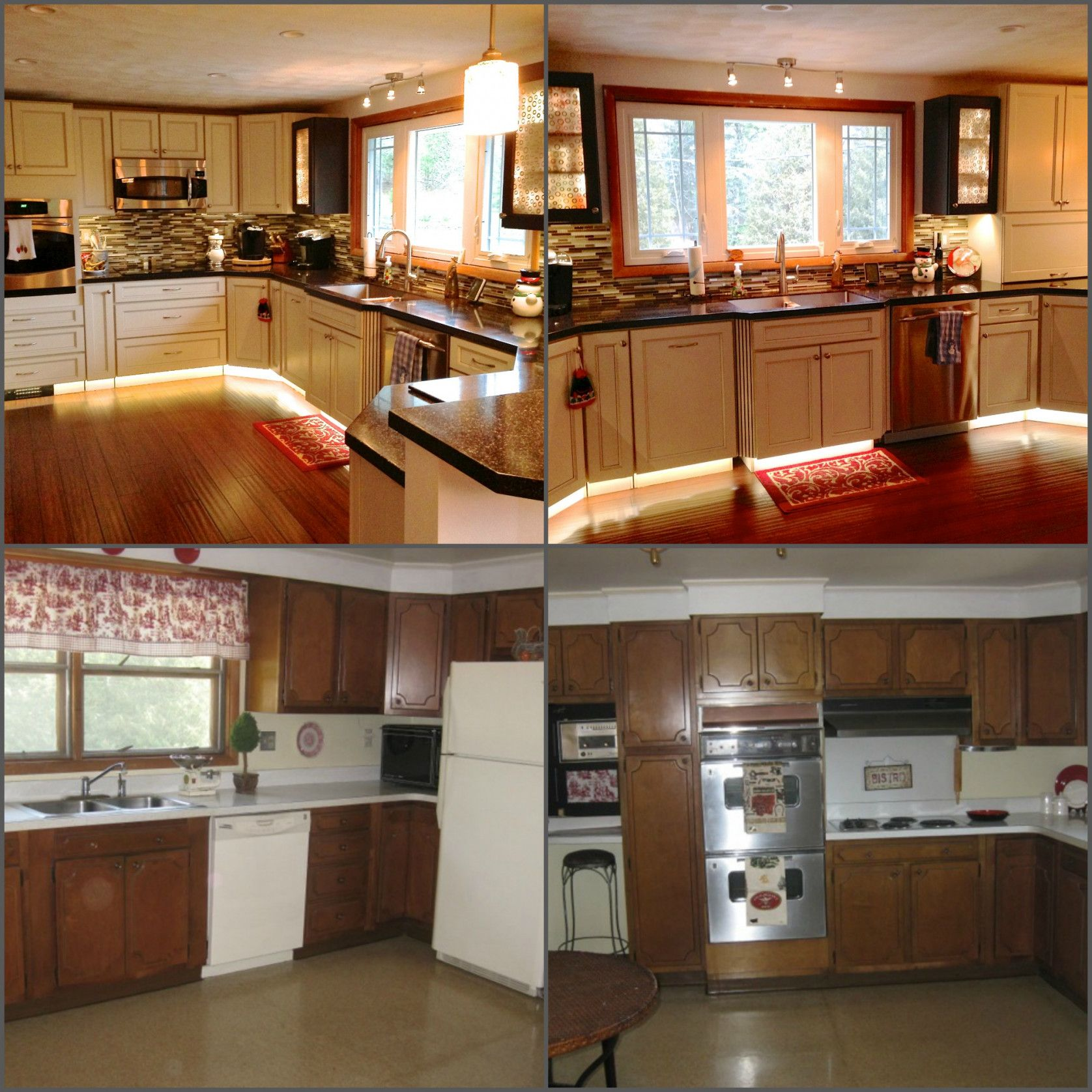 Manufactured home kitchen renovation: carpet replaced with plywood ...