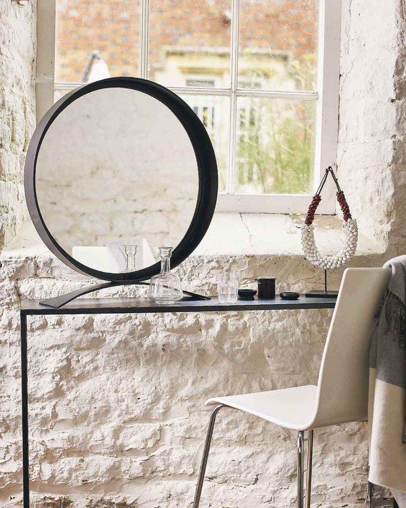 A Very Striking Large Free Standing Dressing Table Mirror With A Round  Black Frame And Base. A Stylish Mirror For Hallways, Bathrooms And Bedrooms.