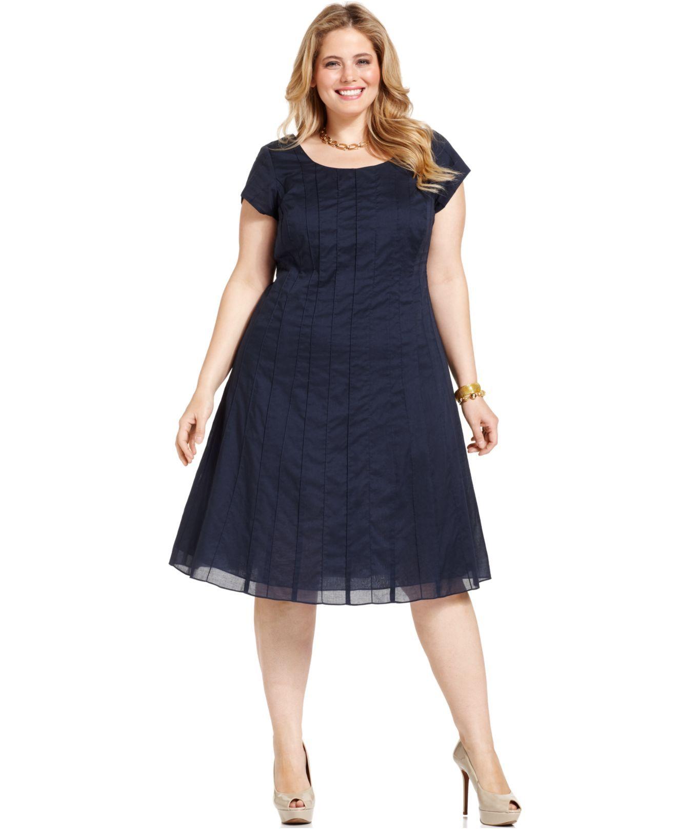 J Jones New York Plus Size Dress, Short Sleeve Pintucked A ...