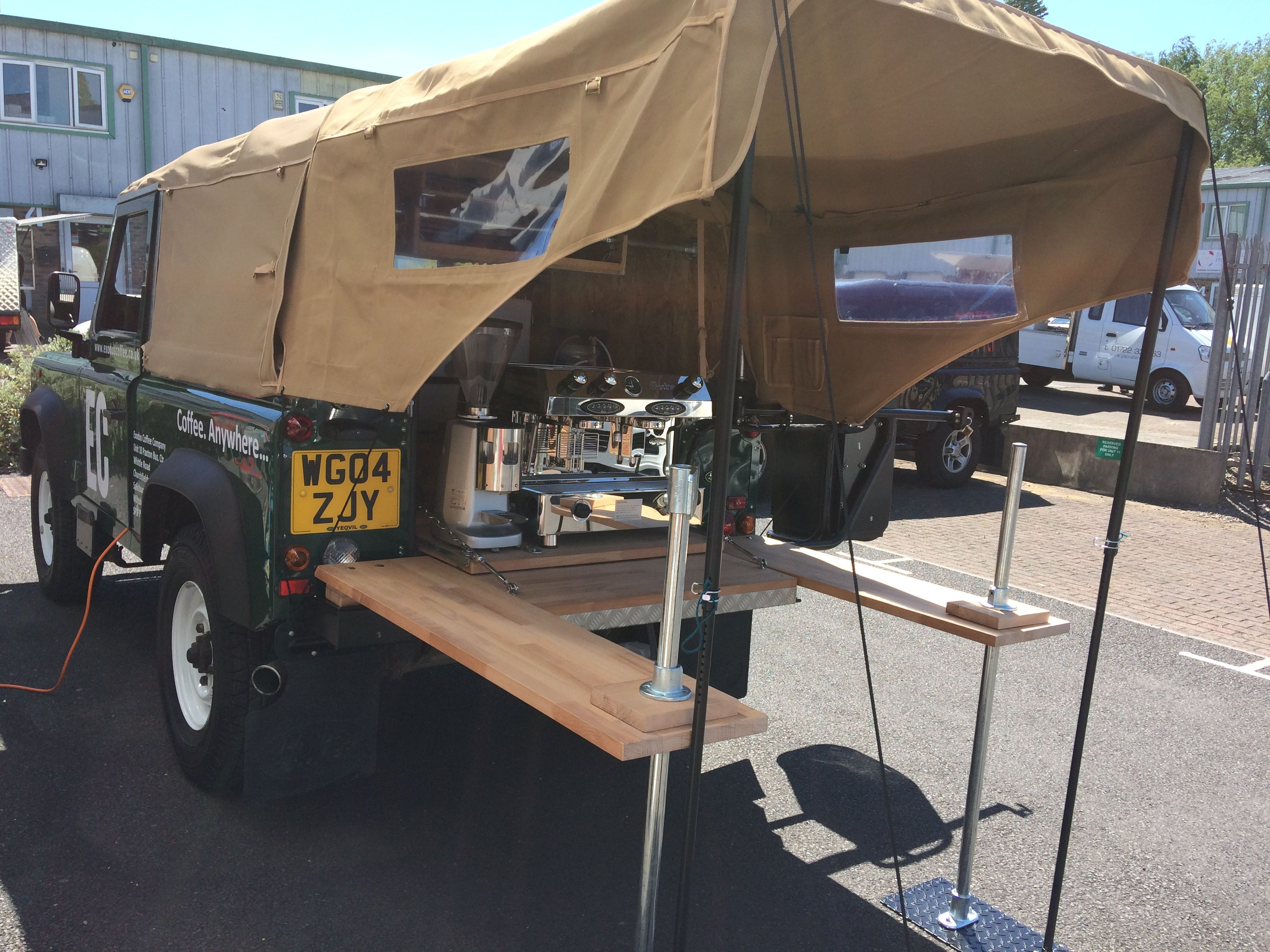 Exodus Coffee Company S Mobile Coffee Truck Awesome Land Rover Defender Conversion Coffee Van Coffee Truck Food Truck Design Interior