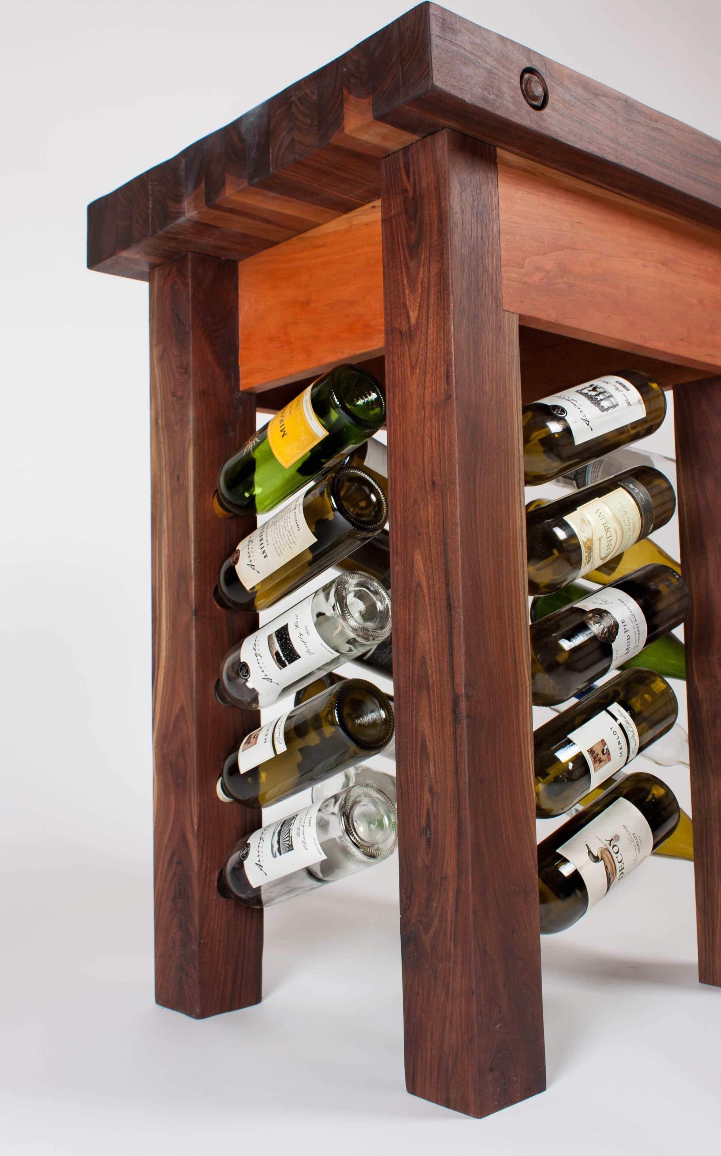Walnut And Cherry Butcher Block Wine Rack