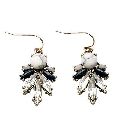 Look at this #zulilyfind! Clear & Black Crystal Drop Earrings #zulilyfinds