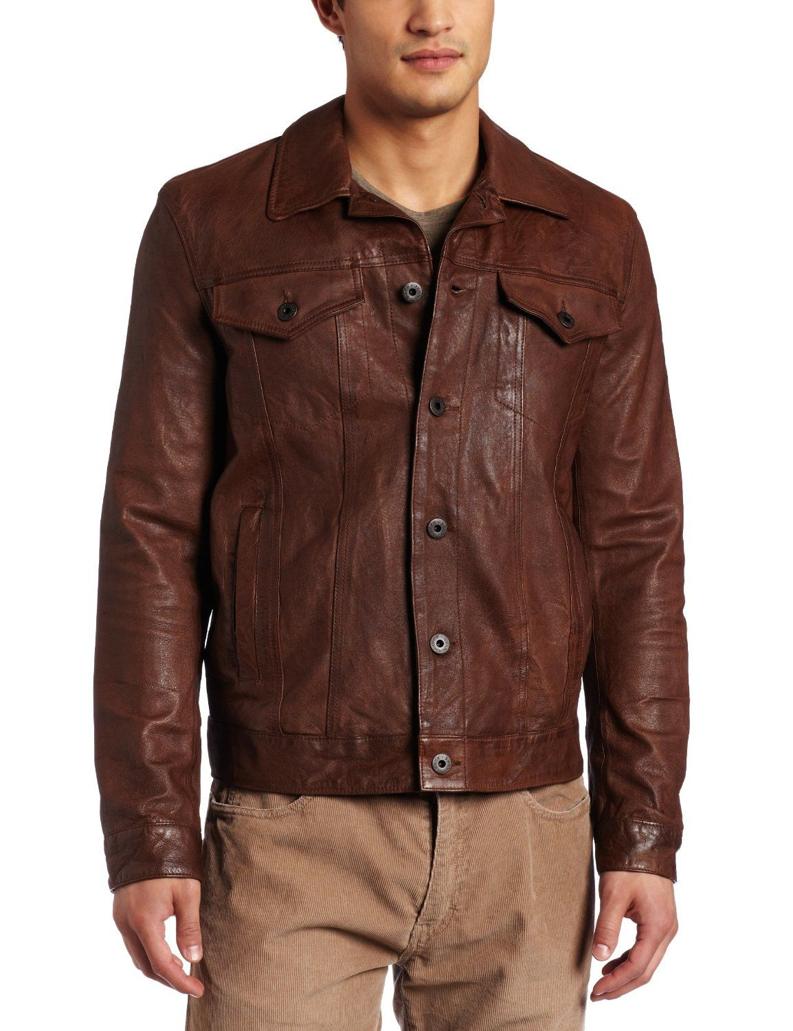 Levis brown leather trucker. Solid. Jackets men fashion