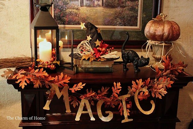 Halloween mantle Mantles Pinterest Mantle, Fall table and