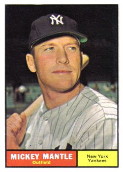 The Trading Card Database 1961 Topps 300 Mickey Mantle Baseball Cards Baseball Card Values Mickey Mantle