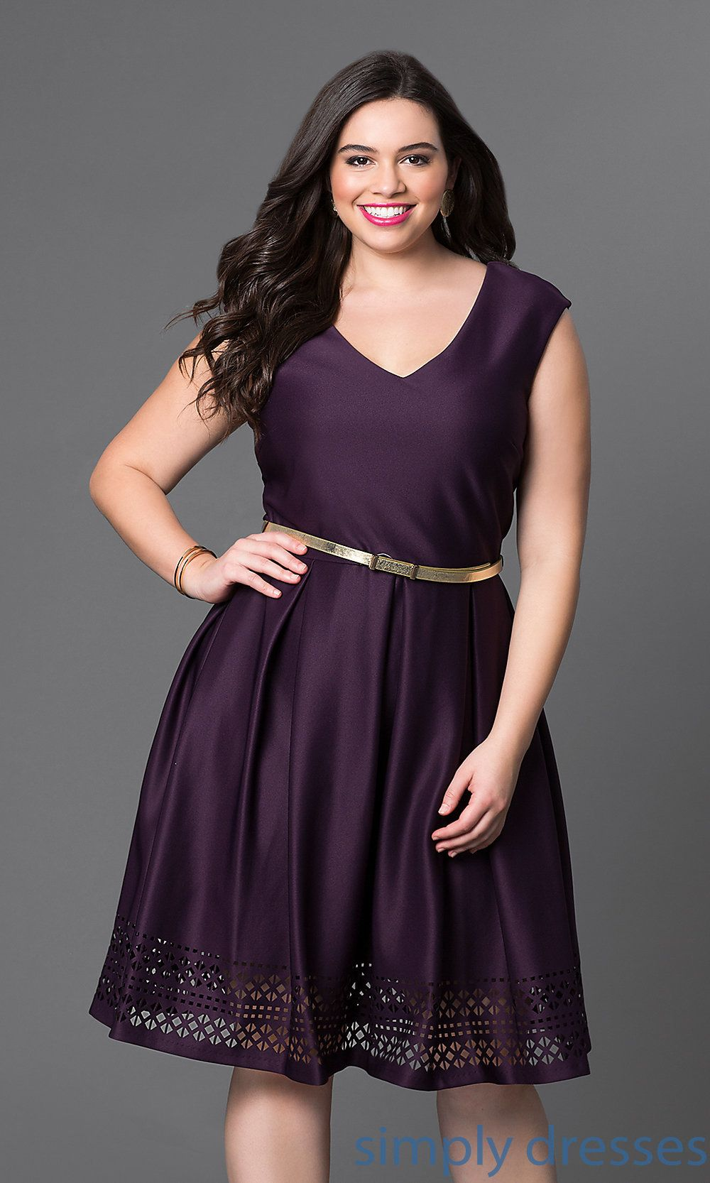 Eggplant-Purple Short A-Line Plus-Size Party Dress | Plus ...