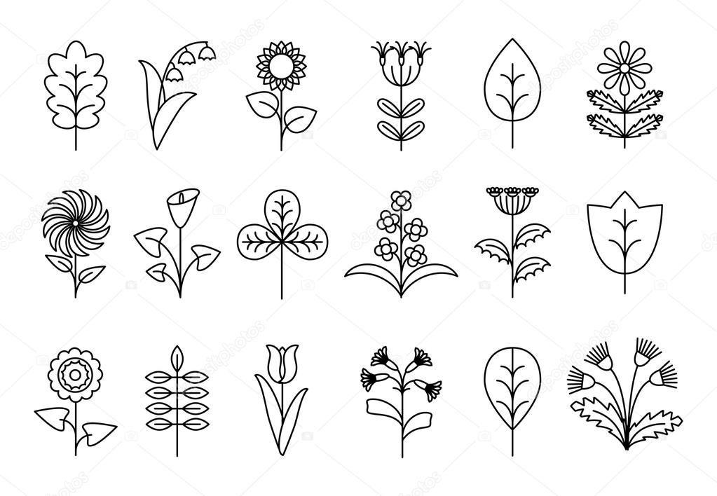 Скачать - Стилизованные цветы и листья линии — стоковая ...