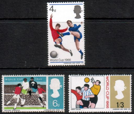 Great Britain 1966 Football World Cup Set Fine Mint SG 693 95 Scott 458 60 Other Great Britain Stamps HERE