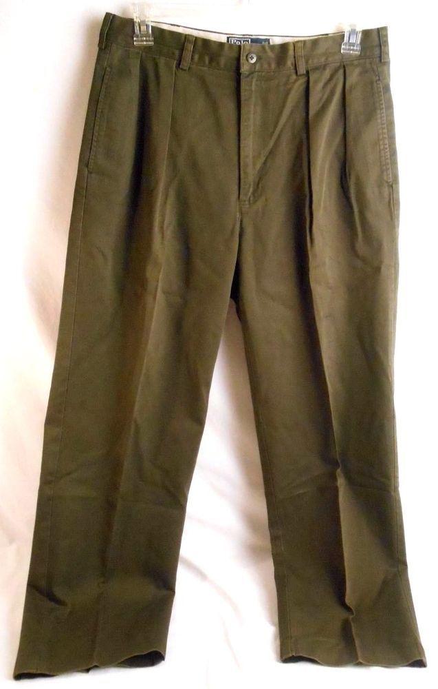 POLO RALPH LAUREN Mens Pants Classic Chino Cotton Size 34x32 Pleated Front Green #PoloRalphLaurenmenspants #mensslacks