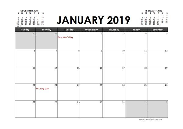 2019 Excel Calendar Template Monthly 2019 Excel Calendar Planner   Organization   Excel