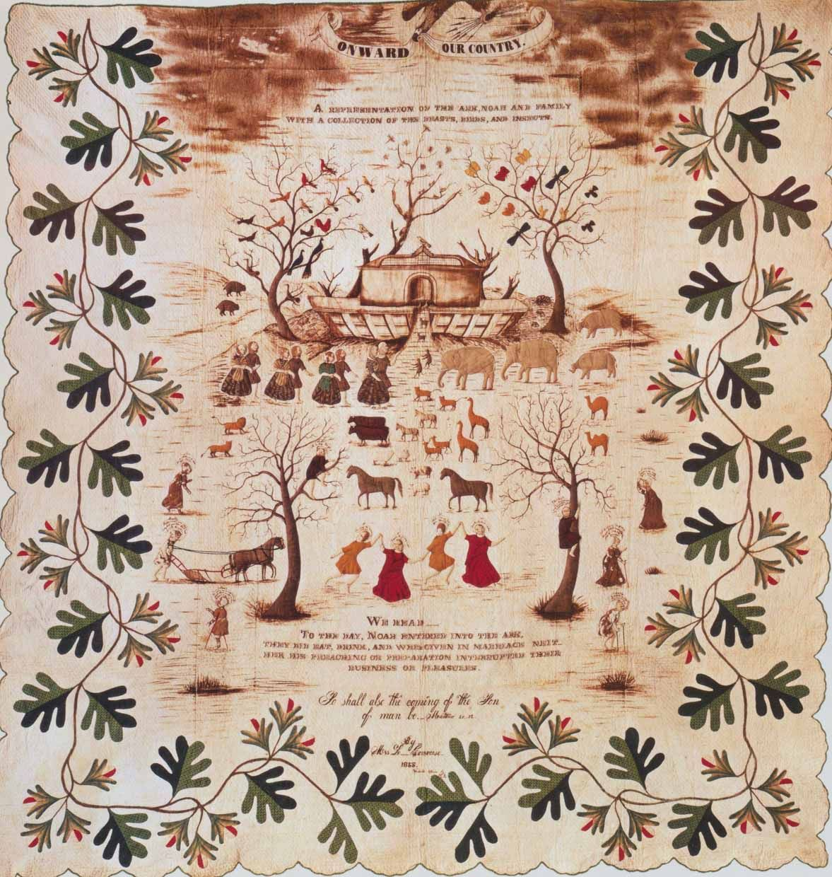 Noah S Ark Quilt 1853 Made By Lutheria Converse Woodville New York Art Quilts Applique Quilts Vintage Quilts