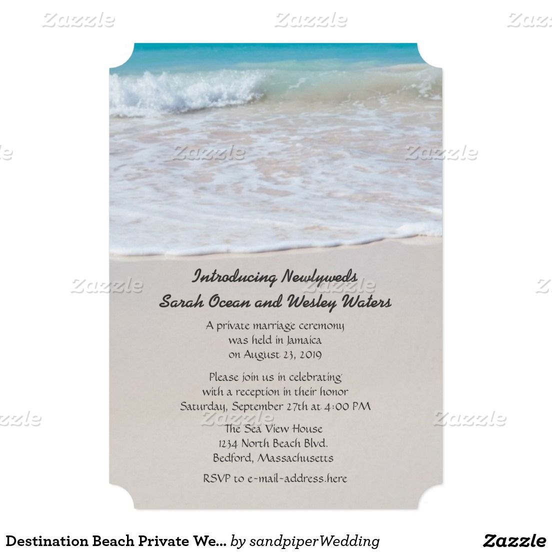 Ceremony And Reception Wedding Invitation Wording: Writing In The Sand Wedding Announcement