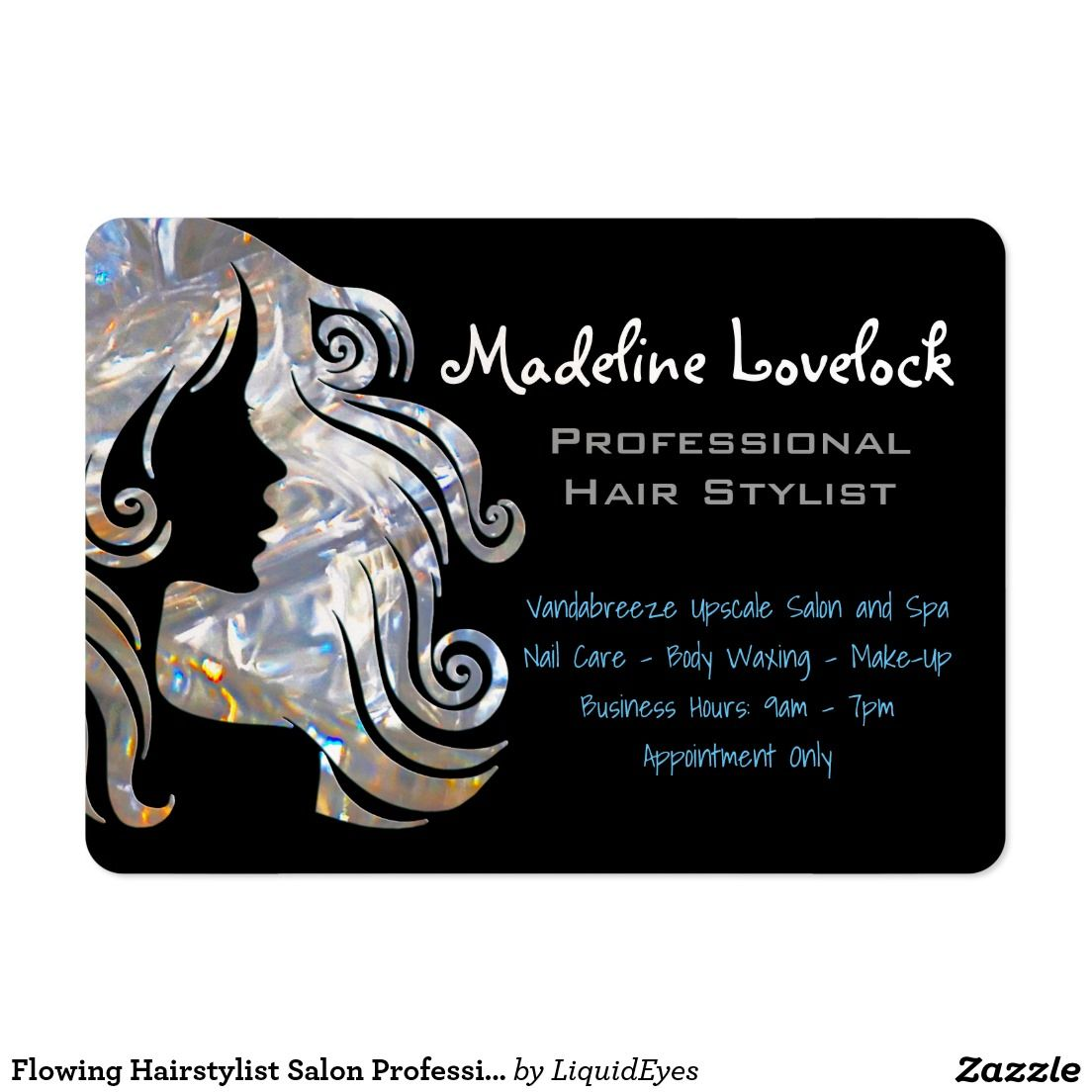 Flowing Hairstylist Salon Professional Large Business Card ...
