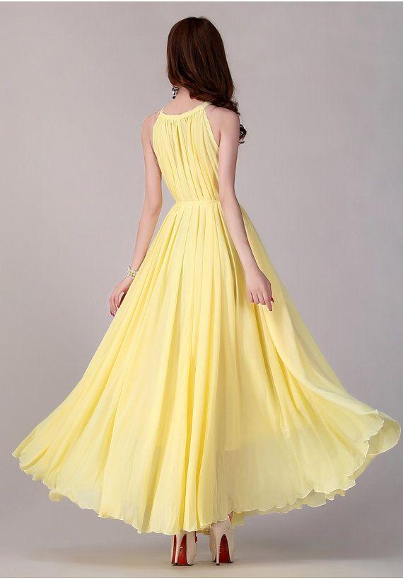 yellow Long chiffon dress Evening Wedding Party Dress Sundress ...