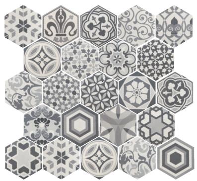Carrelage hexagonal 17 5x20 tomette harmony b w hexatile for Carrelage imitation tomette hexagonale