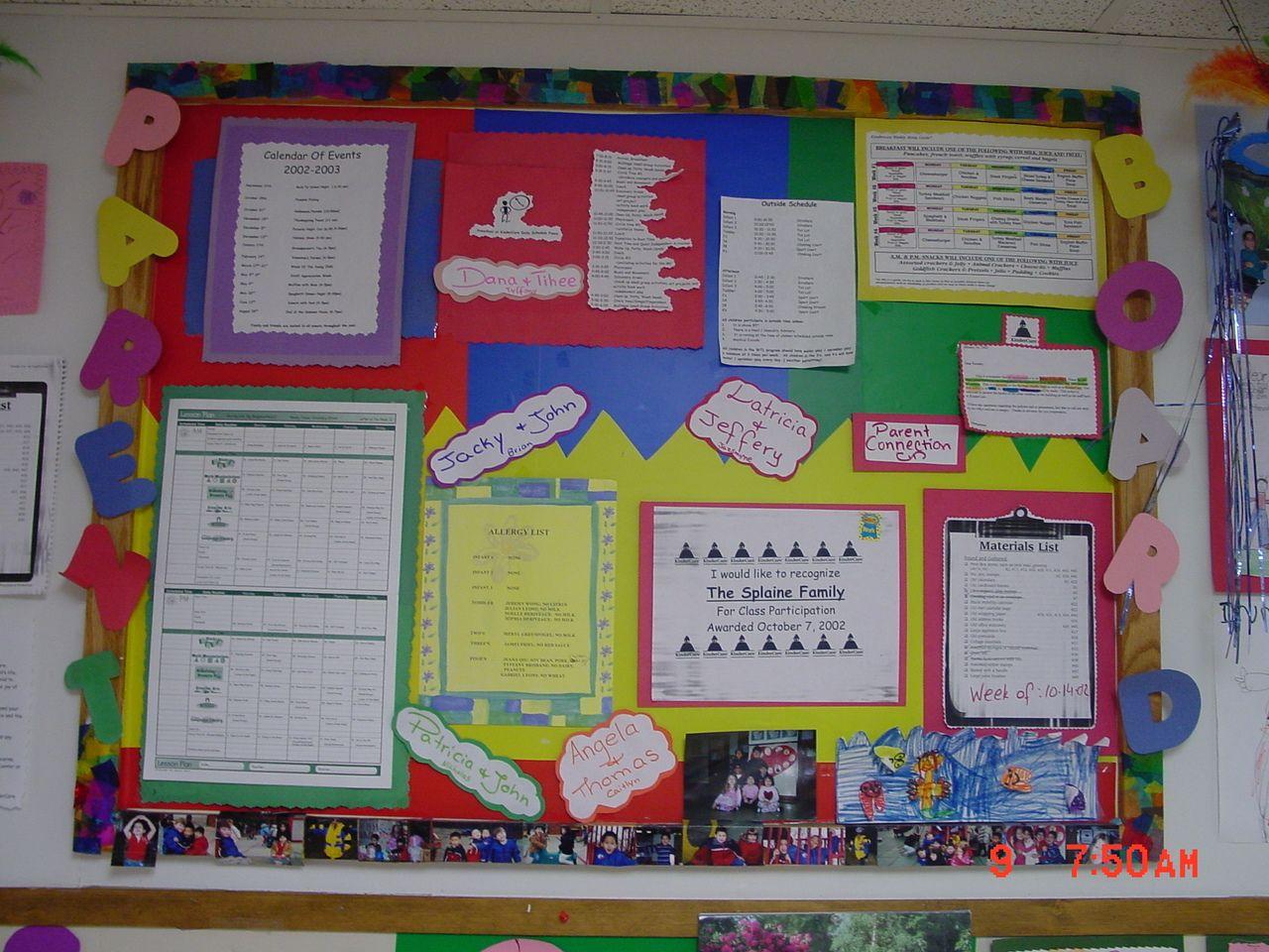 Classroom Parent Involvement Ideas : Pre k parent board included the parents names after