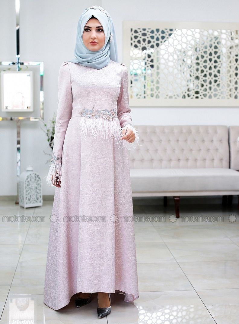 8cc34376a1 Pink - Fully Lined - Crew neck - Muslim Evening Dress - SomFashion ...