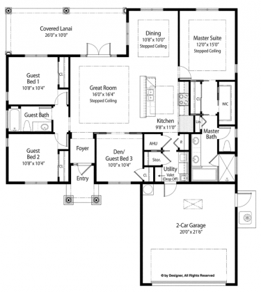 Home Plans Homepw76633 1 619 Square Feet 3 Bedroom 2
