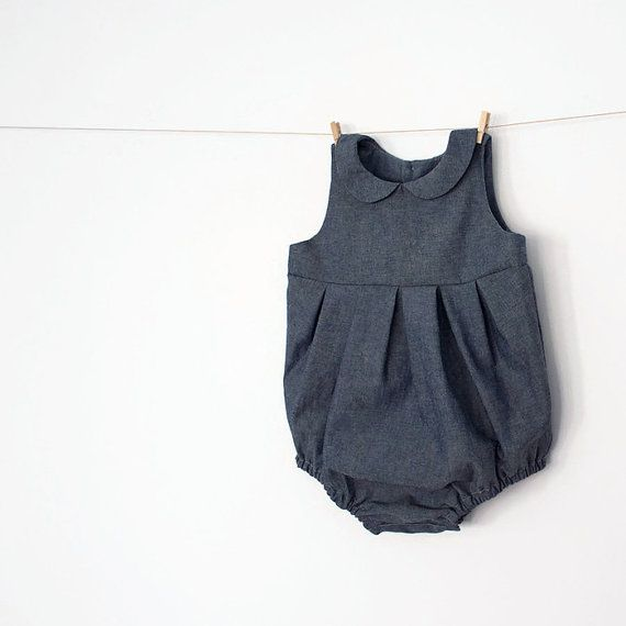 Baby Girl Romper in Chambray – peter pan colar – back and front ...