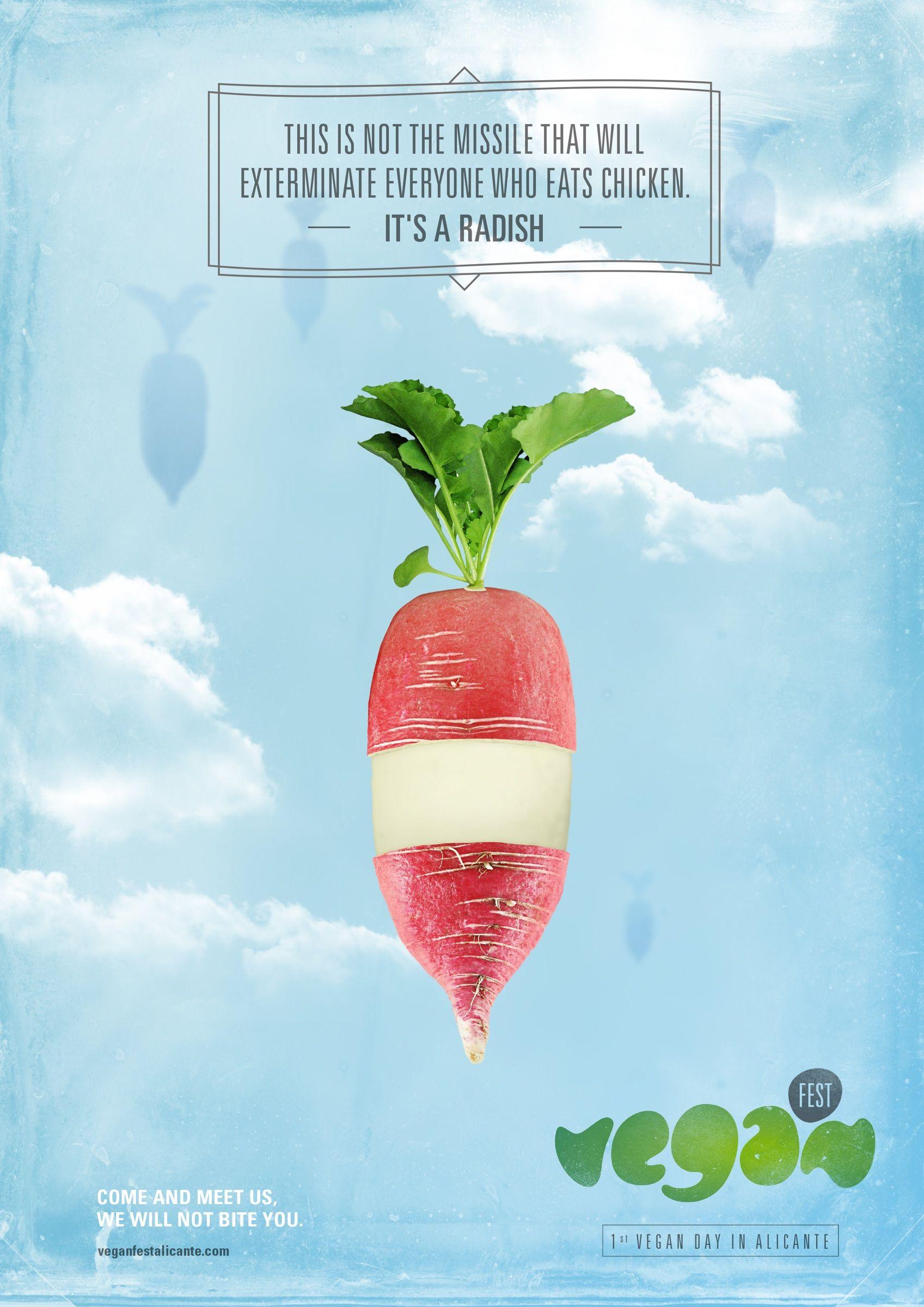 Vegan Fest Alicante Radish Ads Of The World Food Festival Poster Green Marketing Creative Advertising Campaign