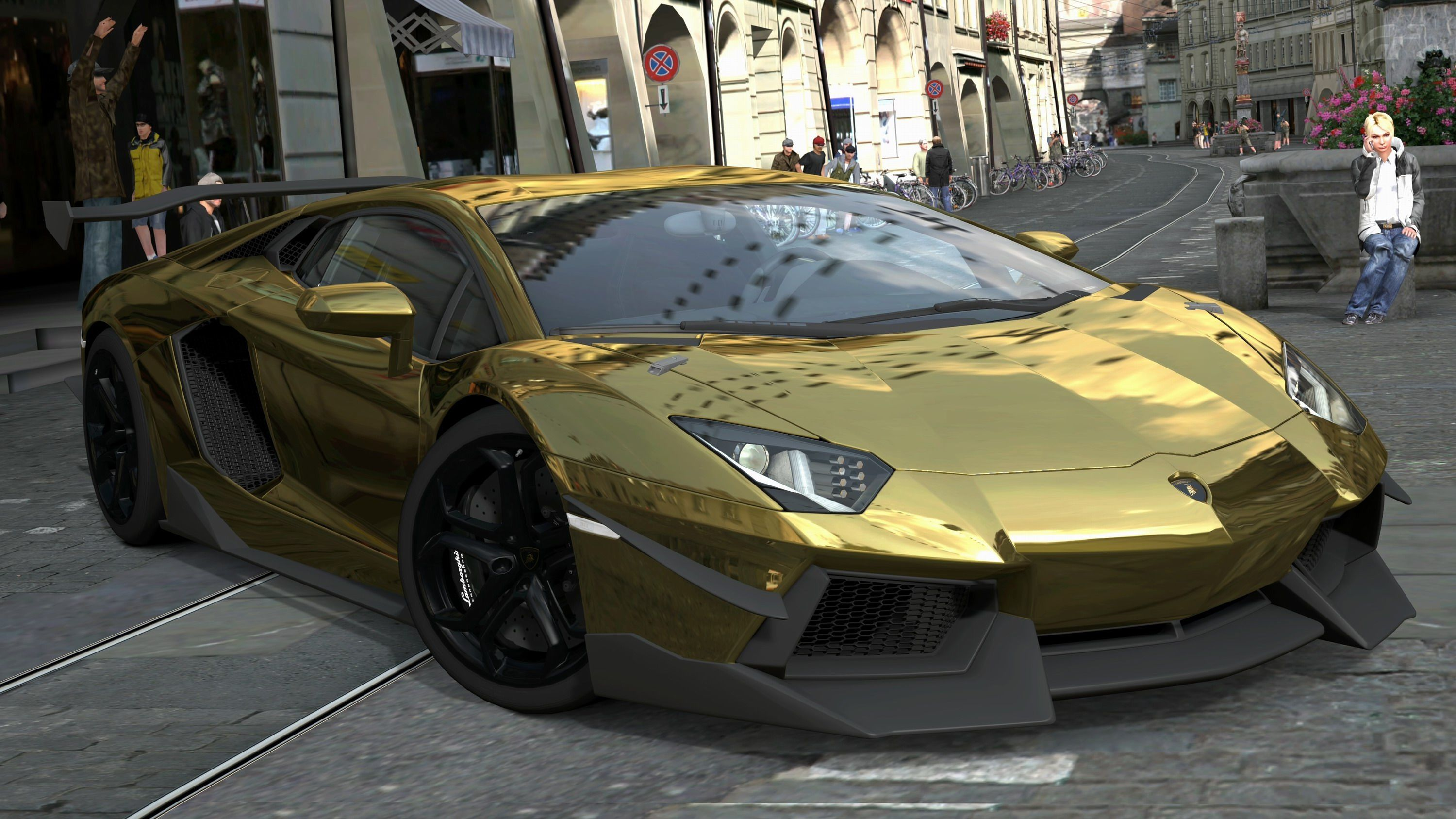 Lamborghini Aventador Gold 2355 Full HD Wallpaper Desktop