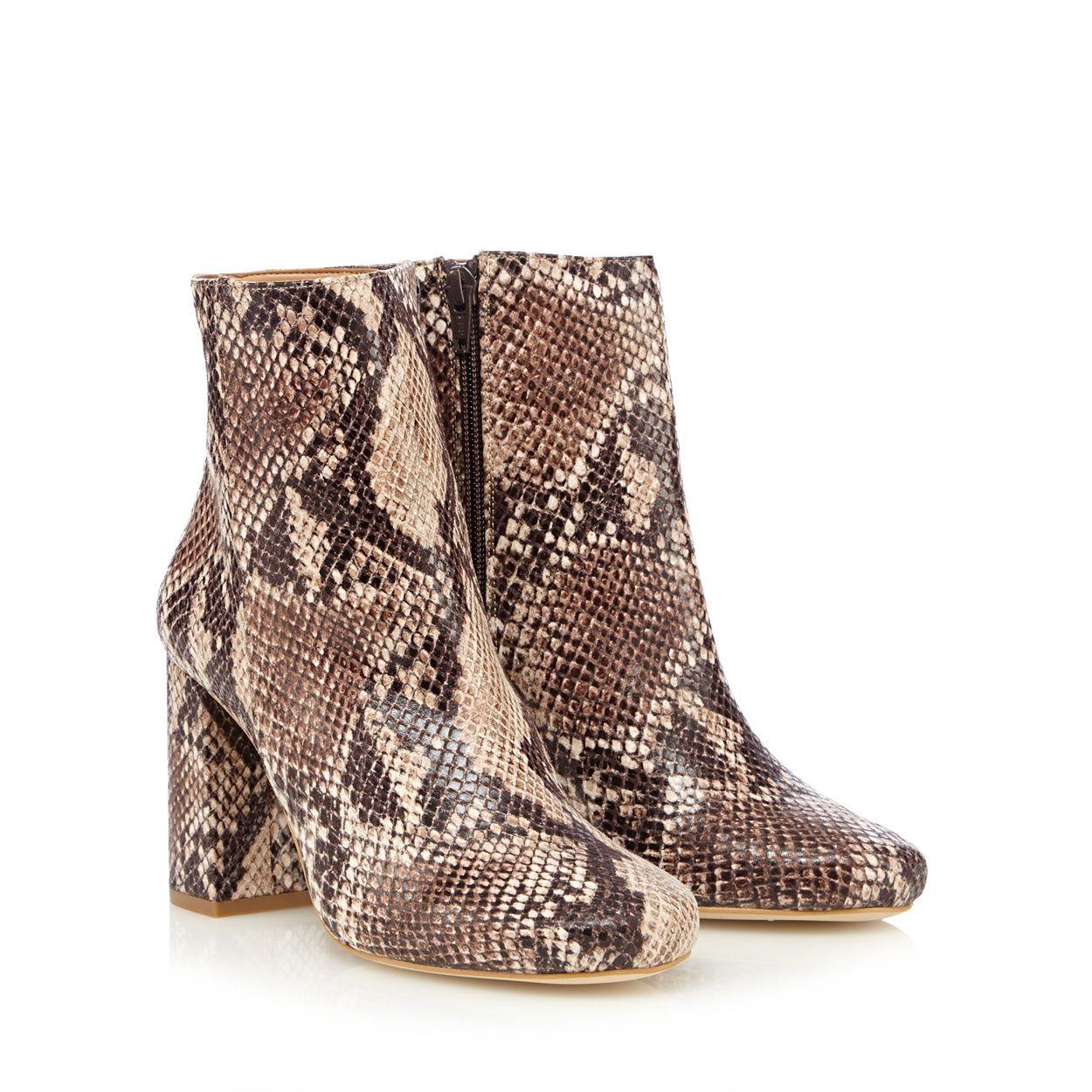 89192d179f4 Faith Natural snakeskin effect high ankle boots- at Debenhams.com ...