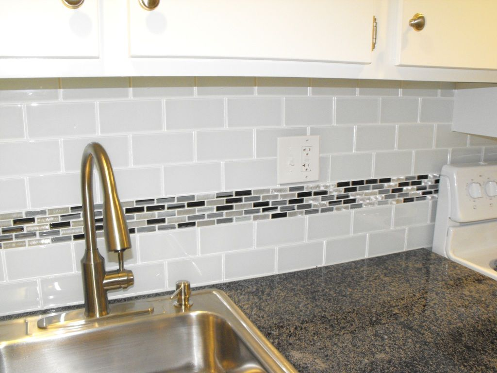 subway tile with accent | kitchen | Pinterest | Subway tiles, Subway ...