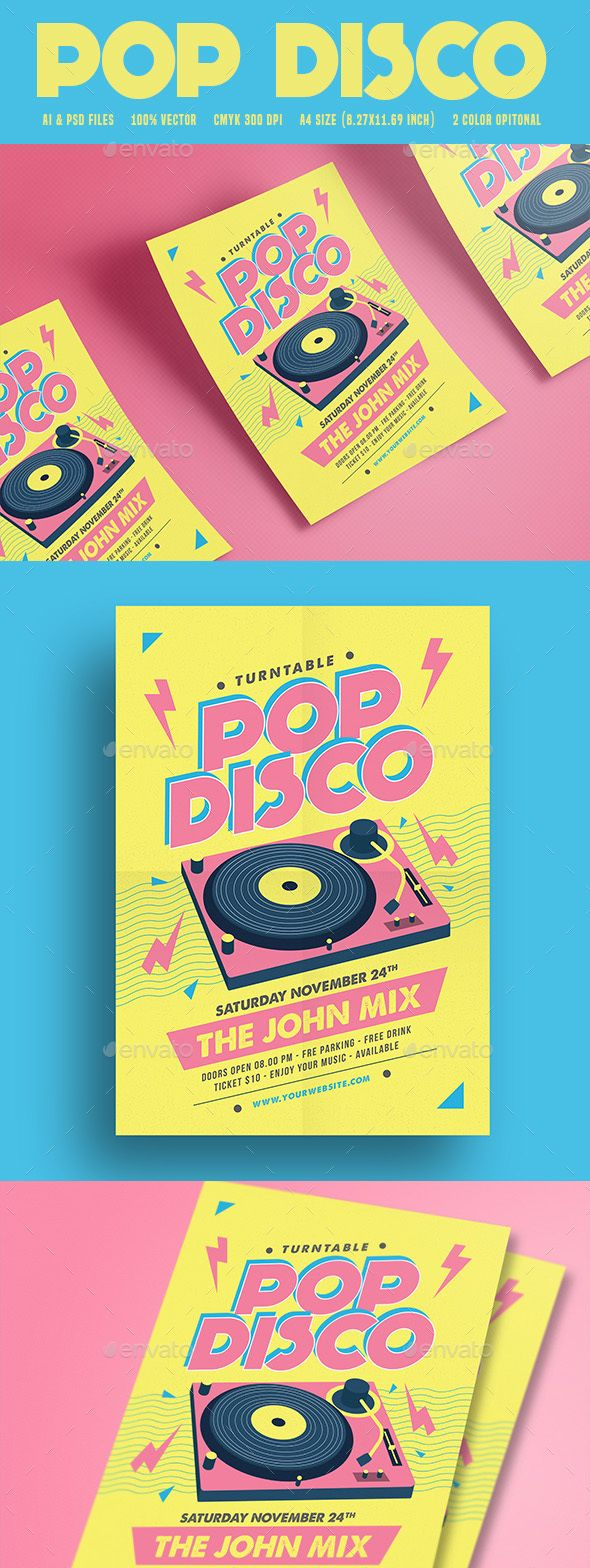 Pop Disco Flyer  Discos Flyer Template And Ai Illustrator