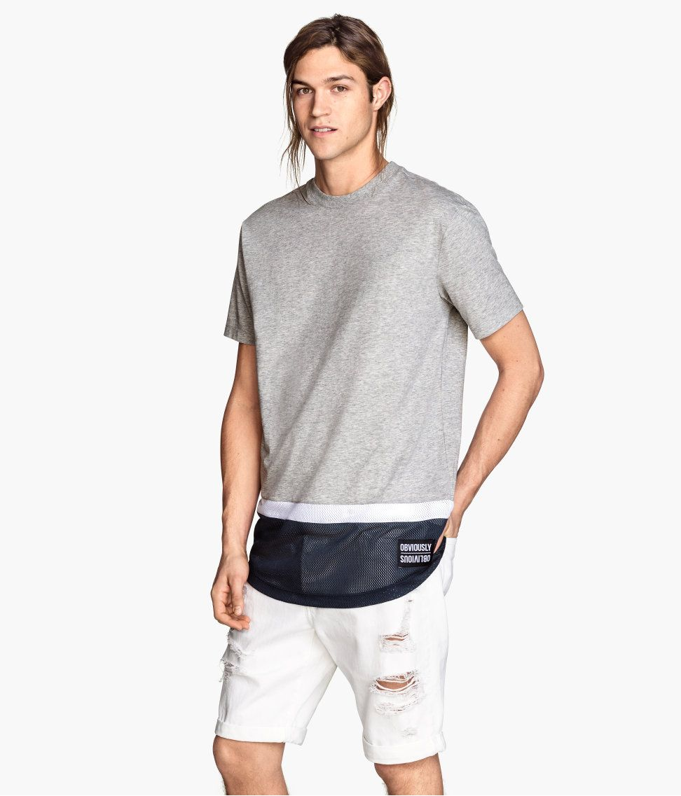 Long gray T-shirt with a sporty contrasting mesh panel. | H&M ...