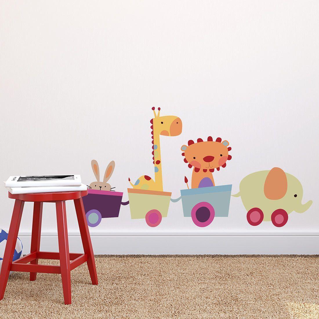 Fabric Animal Toy Train Child's Bedroom Wall Sticker