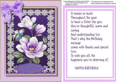 Birthday greetings sister on craftsuprint add to basket card a lovely card topper and verse to make and give to any sister on her special day with beautiful lilac magnolias has one gr bookmarktalkfo Choice Image