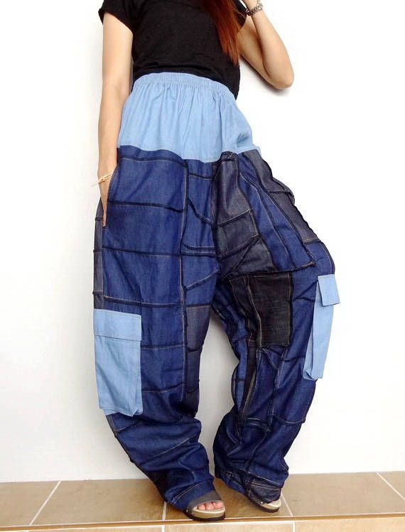 Unisex Hippie Harem Festival Baggy Patch Print Nepalese Cotton /& Silk Trousers