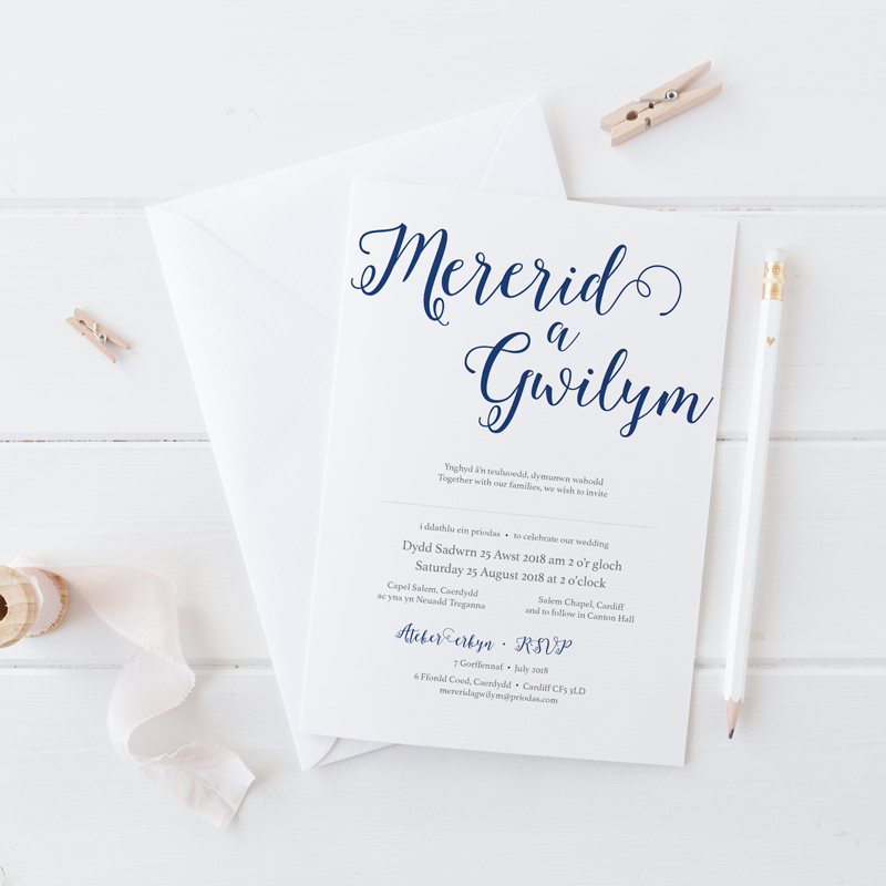 Mererid wedding invitation | Belly bands, Deep blue and Welsh