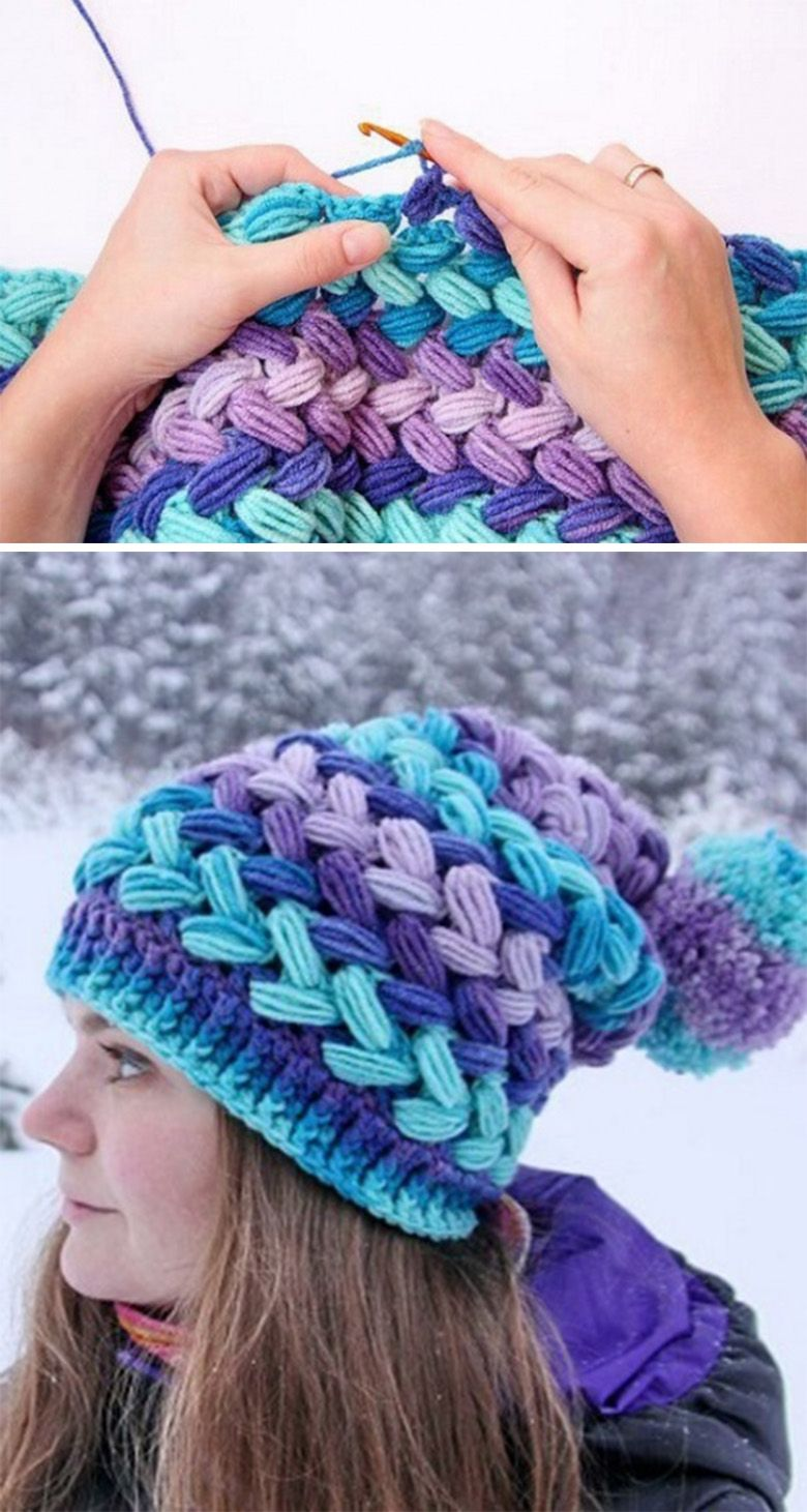 Make Lovely Braid Puff Stitch Crochet Hat #crochetbraids