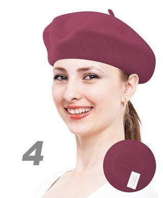 FuzzyGreen French Beret Solid Color French Cap Hat Wool Foreign Beret