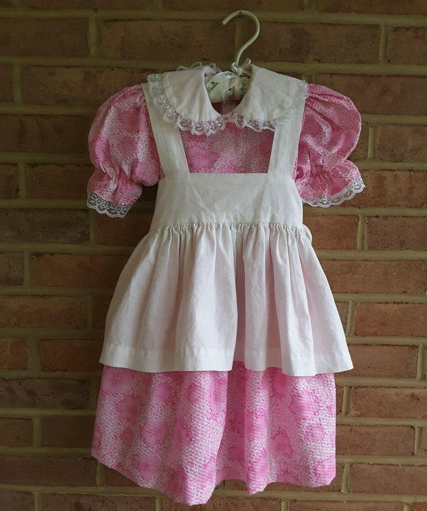 White apron lace trim - Details About Vintage Handmade Little Girls Apron Dress Pink Lace Trim Size 4 Years
