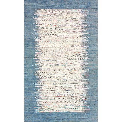 Portglenone Handwoven Flatweave Cotton Denim Area Rug Flat Weave Rag Rugs