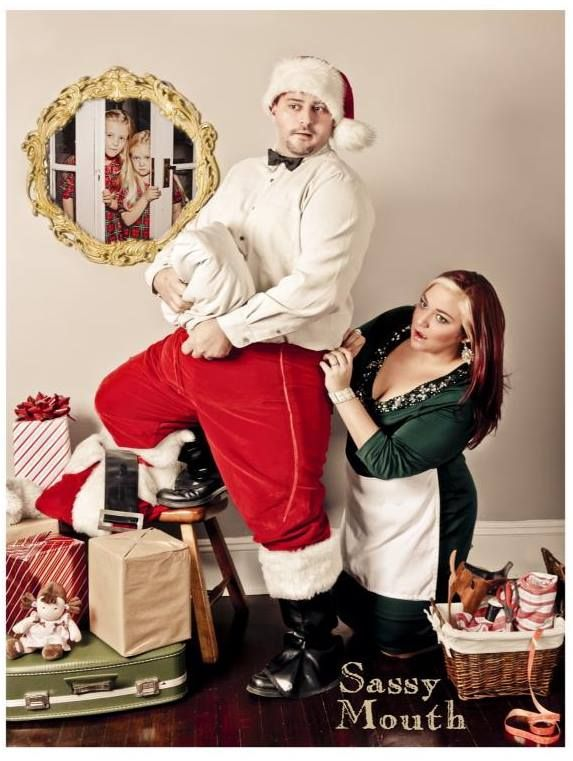 Cute couples holiday card inspiration norman rockwell inspired santas surprise sassy mouth photography