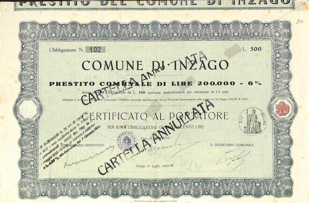 COMUNE DI INZAGO - #scripomarket #scriposigns #scripofilia #scripophily #finanza #finance #collezionismo #collectibles #arte #art #scripoart #scripoarte #borsa #stock #azioni #bonds #obbligazioni