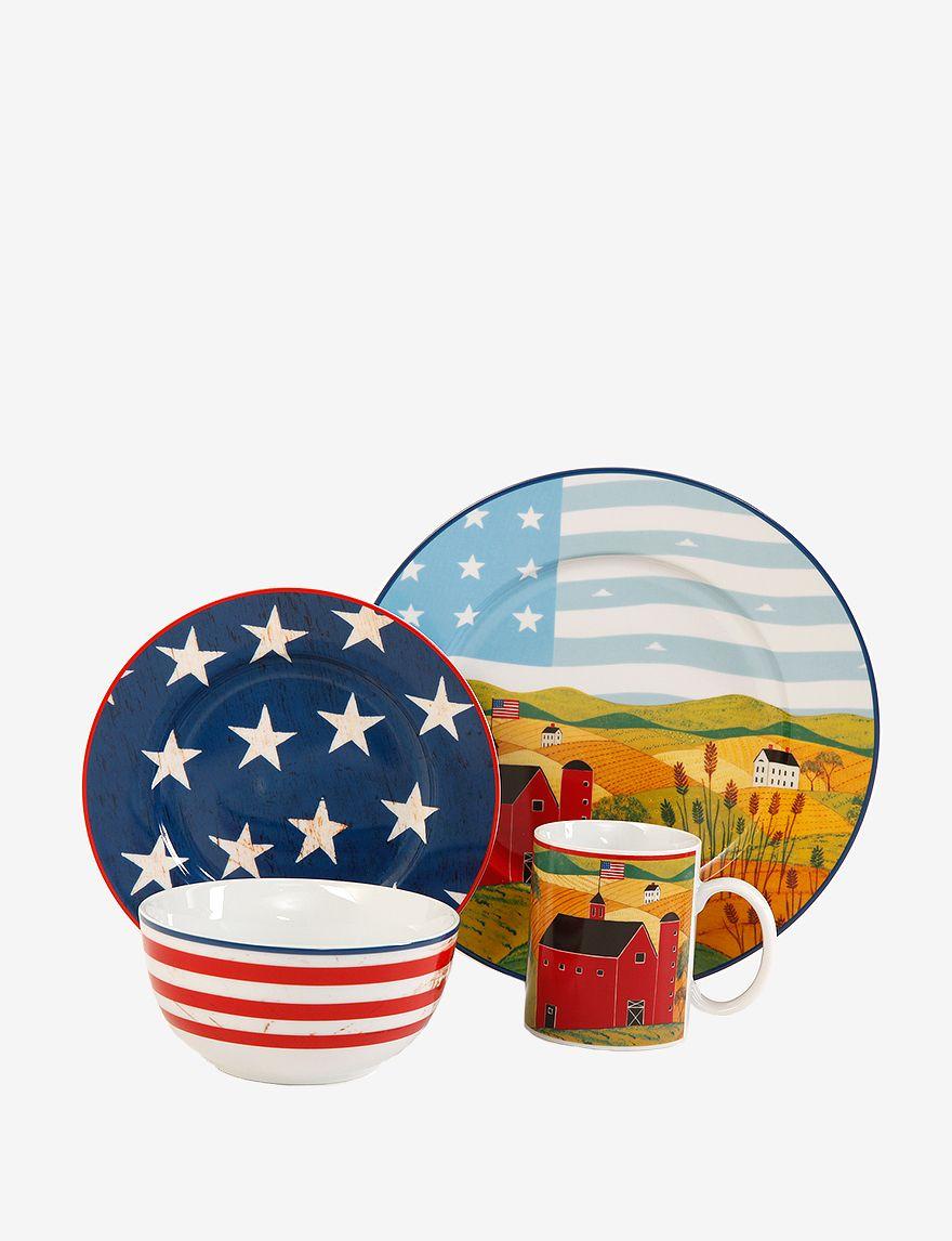Americana Patriotic 16 Piece Ceramic China Dinnerware Set Serves 4  sc 1 st  Pinterest & Americana Patriotic 16 Piece Ceramic China Dinnerware Set Serves 4 ...