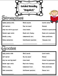 "Teaching Blog Addict: Guided Reading ""Snapshot"" Assessments"