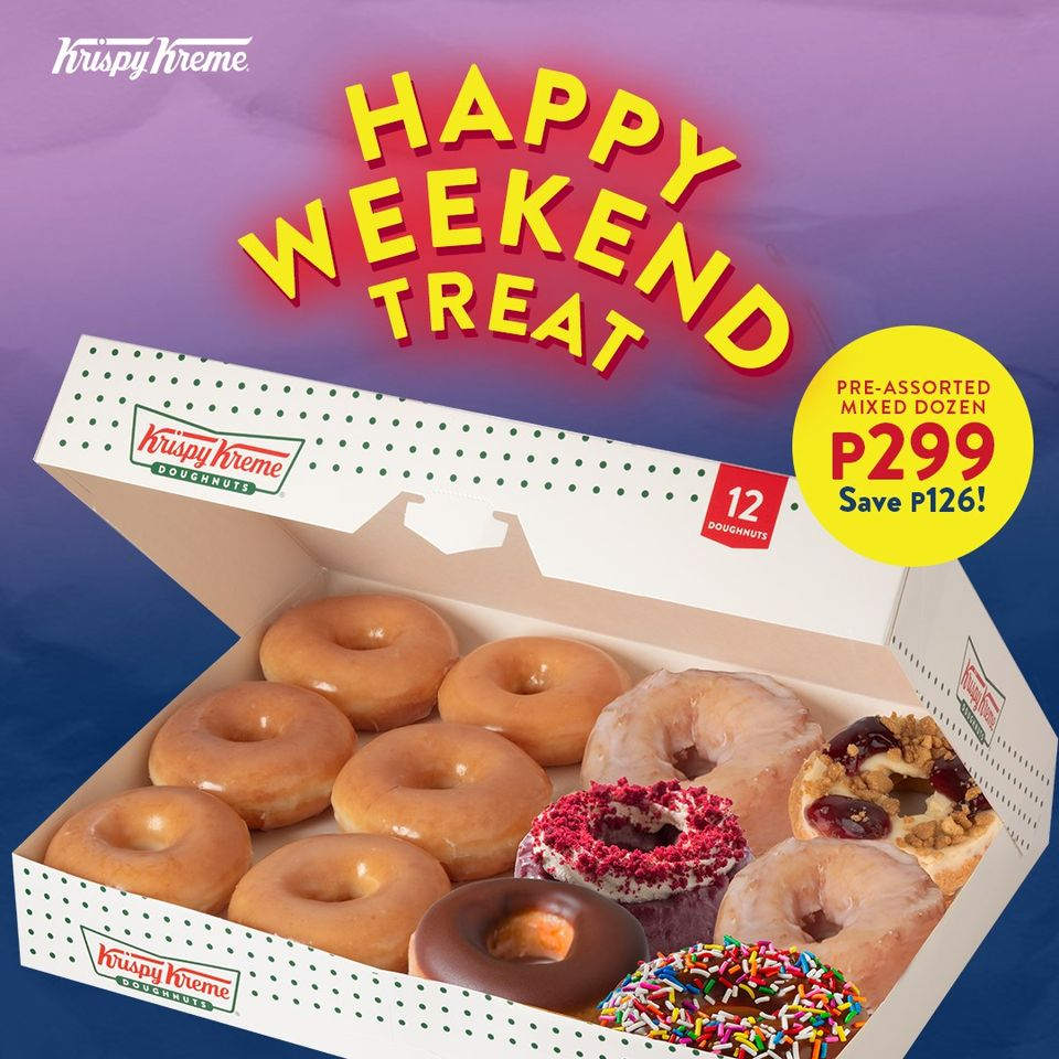Krispy Kreme Christmas Doughnuts 2021 Save P126 On Krispy Kreme Happy Weekend Treat Oct 16 To 18 2020 In 2021 Krispy Kreme Happy Weekend Original Glazed