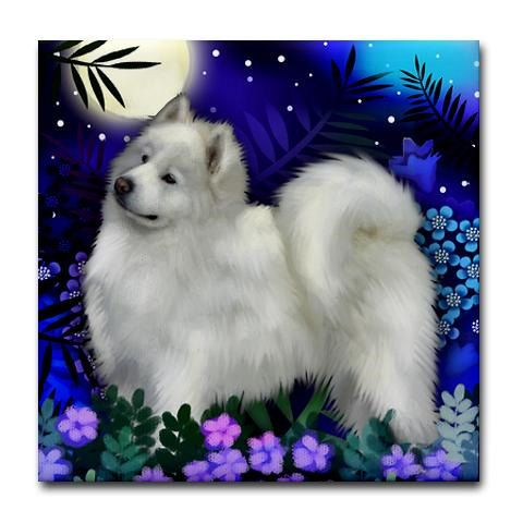 SAMOYED DOG Moon Garden art ceramic tile coaster by EvaDesignsArt,