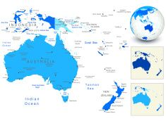 australia map with blue globe and country outlines vector art illustration