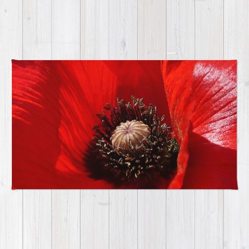 Warm Red Poppy Petals In The Sunlight Sunlit Rug By Bud M Society6