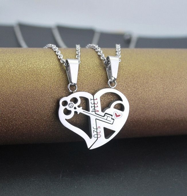 2b86ae2de4 Key And Lock Matching Heart Lover's Couple Necklaces in 2019 ...